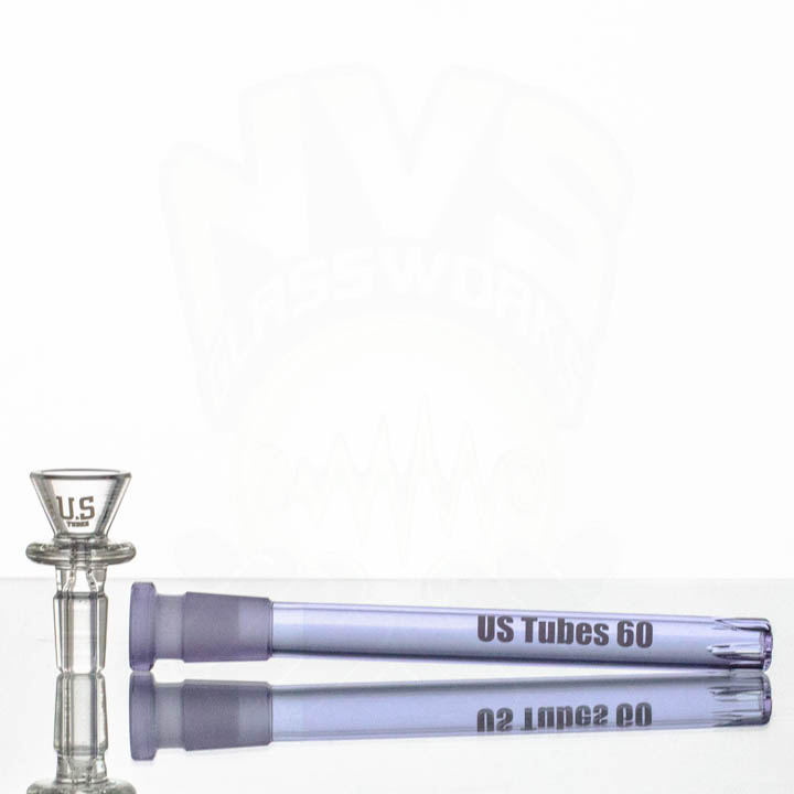 US Tubes 18in 7mm Beaker 57 PURPLE JOINT White-Purple label