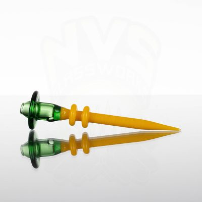 Monkey Boy Art Hollow Cap and Dabber - Trans Green - Canary Yellow