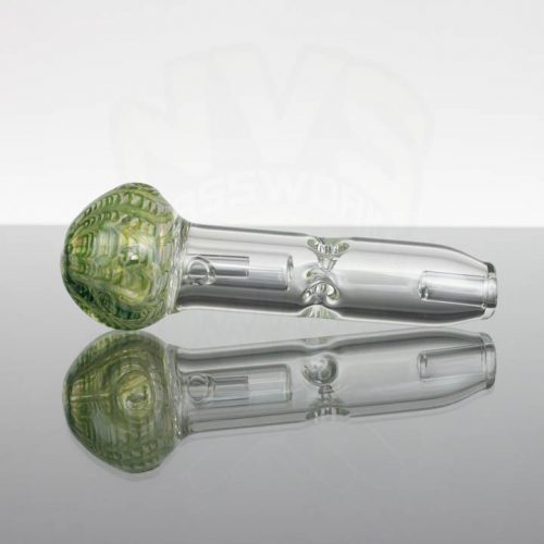 Pirate Glass Spill less Pocket Bubbler - Medium - Green Wavy