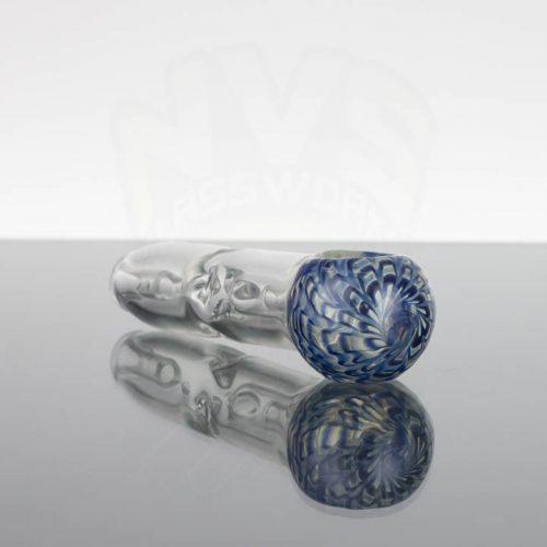 Pirate Glass Spill less Pocket Bubbler -Small - Wavy Blue