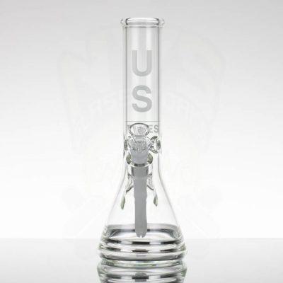 """US Tubes 12"""" Beaker 55 - White Downstem - White Label"""