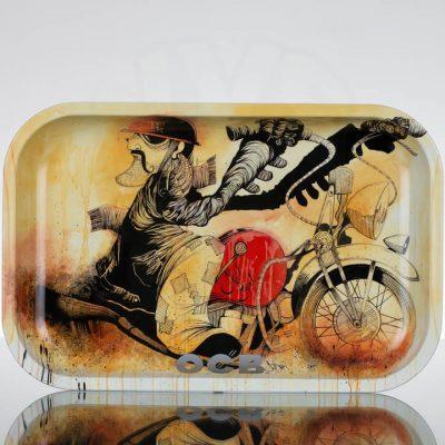 OCB Medium Rolling Tray - Slow-burn Motorcycle