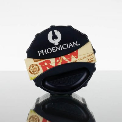 Phoenician Grinder Large 4pc - Ashtray with Paper Dispenser - Jet Black