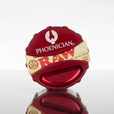 Phoenician Grinder Large 4pc - with Ashtray - Paper Dispenser - Bordeaux Red