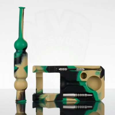 Silicone Nectar Collector with Stand/Tray - 14mm Ti tip - Green Brown Camo