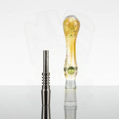Street Kitty Glass - Fumed Dab Straw w 14mm TI Tip - Green CFL Dot -867048-30-1