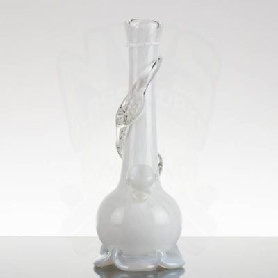 Noble Glass 12.25in White with Clear Dichro Wrap - White Base